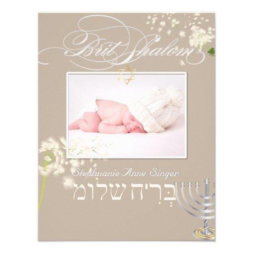 PixDezines brit shalom/photo frame+stars/diy color Custom Invitation
