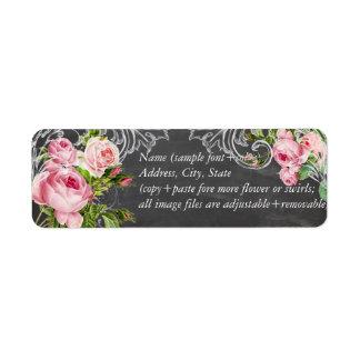 PixDezines chalkboard+vintage roses Return Address Label