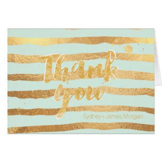 PixDezines dazzle/mint/faux gold stripes/thank you Card