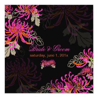 PixDezines diy background/neon mums 13 Cm X 13 Cm Square Invitation Card