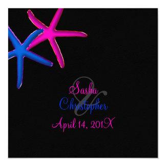PixDezines diy background/Neon Starfish/Beach 13 Cm X 13 Cm Square Invitation Card