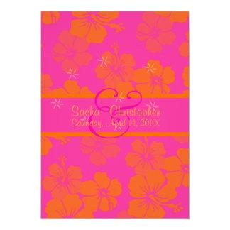PixDezines diy background, Tangerine Leis/hibiscus 13 Cm X 18 Cm Invitation Card