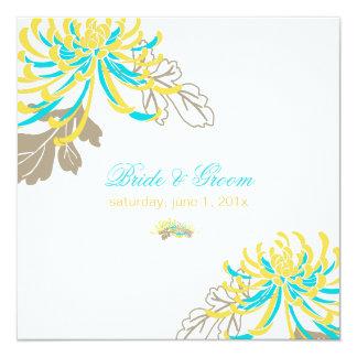 PixDezines diy background/yellow+blue mums 13 Cm X 13 Cm Square Invitation Card