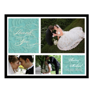 PixDezines DIY Color/Damask Photos Thank you Postcard