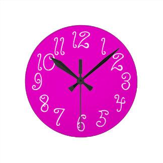 PixDezines DIY color/font/hot pink Round Clock