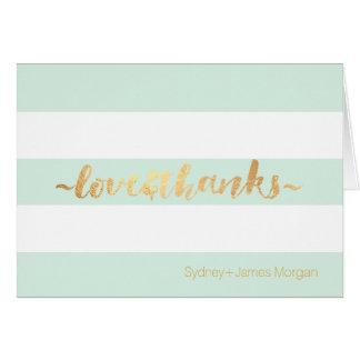 PixDezines DIY color mint+white+stripes thank you Card
