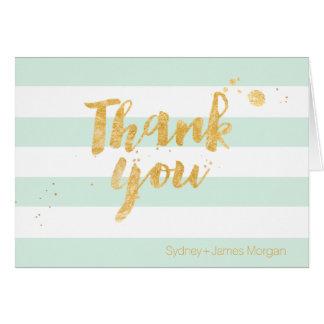 PixDezines DIY color/mint/white+stripes thank you Card