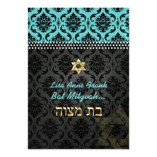 PixDezines DIY teal Vendome Damask, Bat Mitzvah 13 Cm X 18 Cm Invitation Card