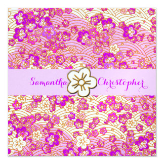 PixDezines faux chirimen/Lilac/Pink Sakura 13 Cm X 13 Cm Square Invitation Card