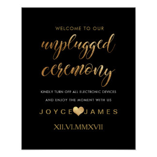 PixDezines Faux Gold/DIY #UNPLUGGED CEREMONY Poster