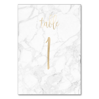 PixDezines Faux Gold/Table No 1+/Marble Card