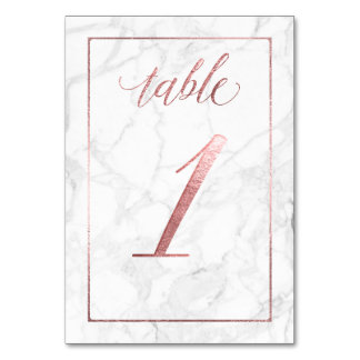 PixDezines Faux Rose Gold/Table No 1+/Marble Card