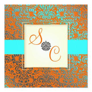 PixDezines Fidora Blue+Orange Vintage Damask 13 Cm X 13 Cm Square Invitation Card