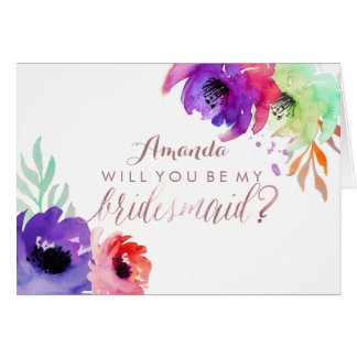 PixDezines Floral Watercolor/Be My Bridesmaid Note Card