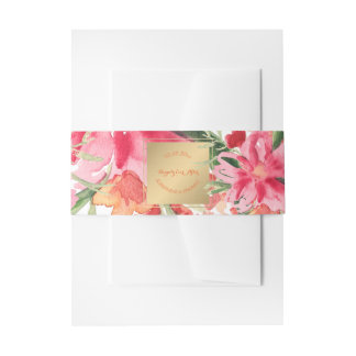 PixDezines Floral/Watercolor/May Flower Invitation Belly Band