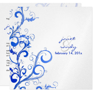 PixDezines Flourish/swirls leaves/blue/lilac 13 Cm X 13 Cm Square Invitation Card