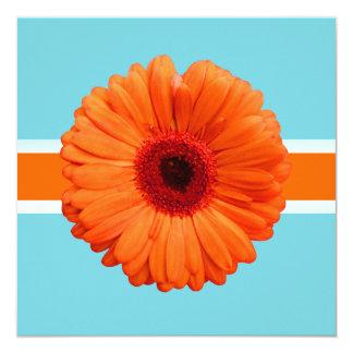 PixDezines Gerbera, orange/diy background colors 13 Cm X 13 Cm Square Invitation Card