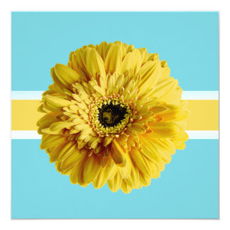 PixDezines Gerbera, yellow/diy background color 13 Cm X 13 Cm Square Invitation Card