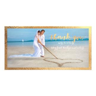 PixDezines gold frame/thank you wedding photo Customized Photo Card