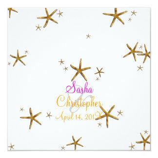 PixDezines gold starfish/diy background color 13 Cm X 13 Cm Square Invitation Card