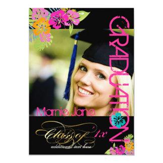 """PixDezines Hibiscus/2014 Graduation/diy colors 5"""" X 7"""" Invitation Card"""