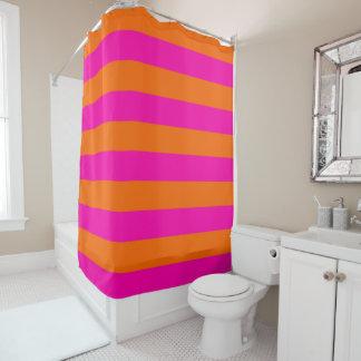 PixDezines Hot Pink/Orange/Stripes Adjustable Shower Curtain