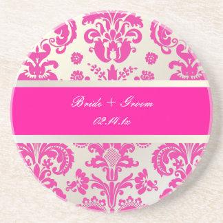 PixDezines Isabella Damask, Monogram Wedding Coaster