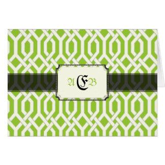 PixDezines Kew Trellis, black/DIY green background Card
