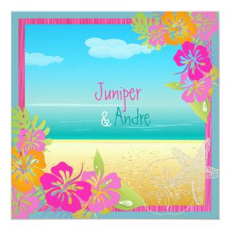 PixDezines leis/hibiscus, beach/diy color 13 Cm X 13 Cm Square Invitation Card