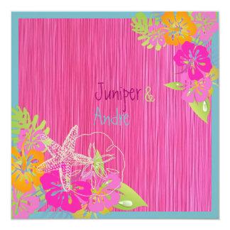 PixDezines leis/hibiscus, destination/diy color 13 Cm X 13 Cm Square Invitation Card