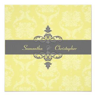 "PixDezines Liliana Damask, diy background colors 5.25"" Square Invitation Card"
