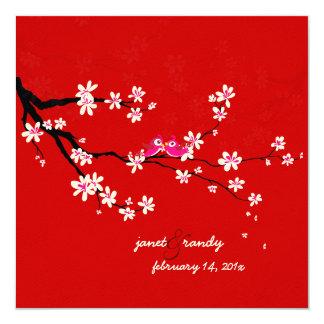 "PixDezines Love birds/red cherry/sakura blossoms 5.25"" Square Invitation Card"