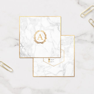 PixDezines Marble+DIY Faux Gold Monogram Square Business Card