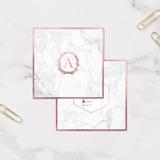 PixDezines Marble+DIY Faux Rose Gold Monogram Square Business Card