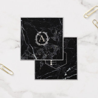 PixDezines Marble+DIY Faux Silver Monogram Square Business Card
