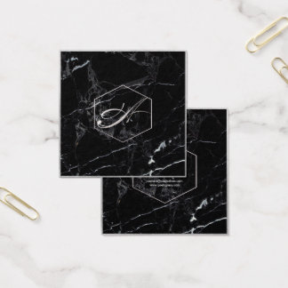 PixDezines Marble+Elegant Faux Silver Monograms Square Business Card
