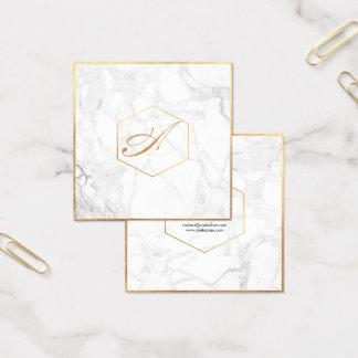 PixDezines Marble+Elegant Script Font Monogram Square Business Card