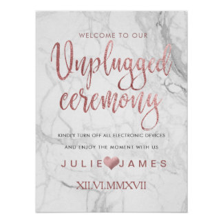 PixDezines Marble/Faux Rose Gold/#UNPLUGGED Poster