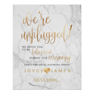 PixDezines MarbleFaux Gold/DIY #UNPLUGGED CEREMONY Poster