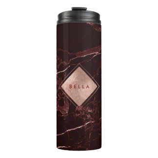 PixDezines MASALA RED MARBLE FAUX ROSE GOLD VEINS Thermal Tumbler