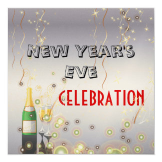 PixDezines New Year's Eve champagne bubbles Card