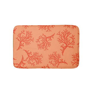 PixDezines orange coral/diy background color Bath Mat