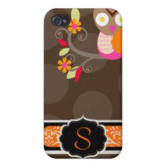 PixDezines Owl/pink+orange/DIY background color iPhone 4/4S Case
