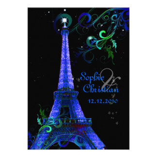 PixDezines Paris La Nuit, eiffel tower Custom Invites