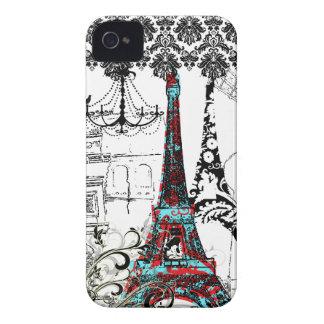 PixDezines Paris Sketch, coral damask/DIY color iPhone 4 Case-Mate Cases