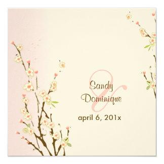 """PixDezines Peach Sakura, wedding invitations 5.25"""" Square Invitation Card"""