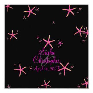 PixDezines pink+gold starfish/diy background color 13 Cm X 13 Cm Square Invitation Card