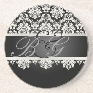 PixDezines Piqué Damask, Monogram Wedding Drink Coaster