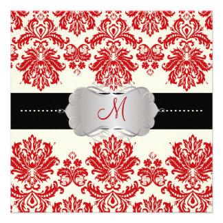 PixDezines Piqué Damask Red + Off White Personalized Invitation