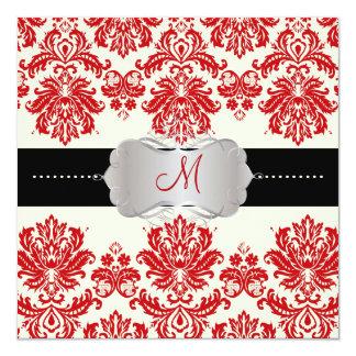 PixDezines Piqué, Damask / Red + Off White 5.25x5.25 Square Paper Invitation Card